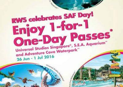 Singapore: Resorts World Sentosa (RWS) 1-For-1 Promotions for SAF Personnel (26 Jun – 01 Jul 2016)
