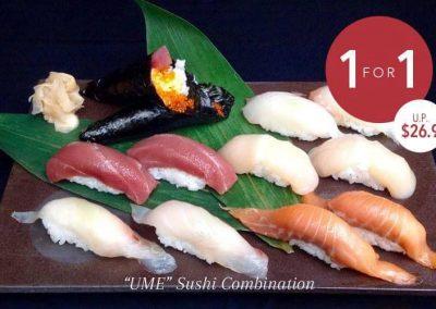 "Singapore: Taki 瀧 Singapore – 1-for-1 (U.P $26.90) ""Ume"" 5 pieces Sushi Combination (Till 18 Jul 2016)"