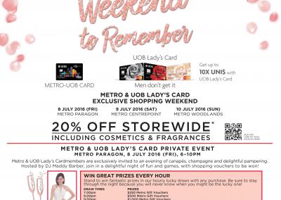 Singapore: Metro's & UOB Ladies' Exclusive Shopping Weekend (8 – 10 Jul 2016)