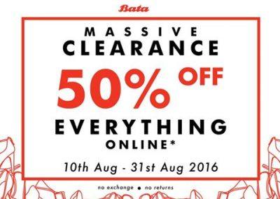Singapore: Bata – Massive 50% off Everything (Till 31 Aug 2016)