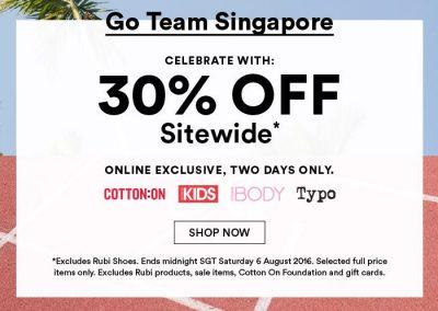 Singapore: Cotton On – 30% Off Sitewide, Cotton On, Kids, Body & Typo (5 & 6 Aug 2016)