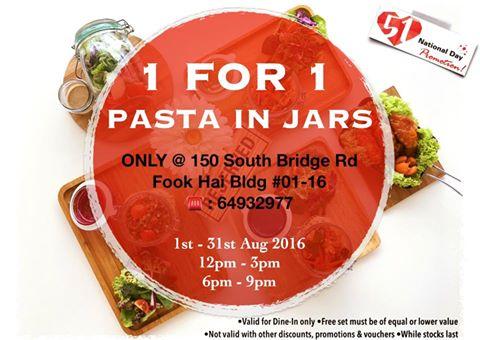 Singapore: fArt tArtz Cafe – 1 for 1 Pasta in Jars (Till 31 Aug 2016)