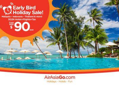 Singapore: AirAsiaGo – Early Bird Sale, 3D2N Flight & Hotel From $90 Per Pax (12 – 25 Sep 2016)