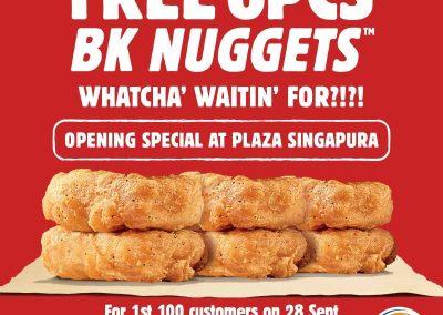 Singapore: Burger King – Free 6 Nuggets at BK Plaza Singapura Limited for 100 customers (28 Sep 2016)