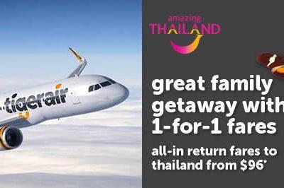 Singapore: TigerAir's 1-For-1 Thailand Deals – 2 Pax Fares Fr $96 ALL-IN (12 – 18 Sep 2016)