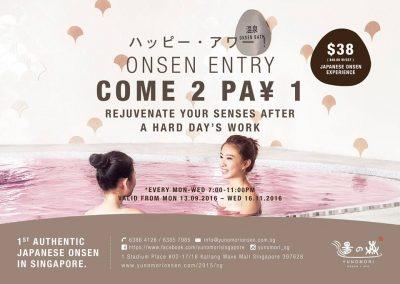 Singapore: Yunomori Onsen & Spa – 1-For-1 Weekday Entry at Kallang Wave Mall (Sep 13 – Nov 16 2016)