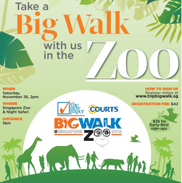Singapore – TNP Big Walk 2016 at Singapore ZOO & Night Safari – Early-Bird Sign-up at S$35 (26 Nov 2016 – 2 pm)