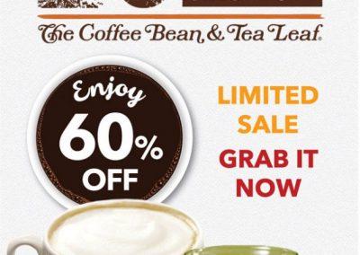 Singapore: Coffee Bean – 60% OFF Regular Cup of Tea or Coffee (Till 13 Nov 2016)