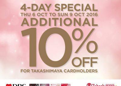 Singapore: Takashimaya – Enjoy Additional 10% OFF Participating Brands (Till 9 Oct 2016)