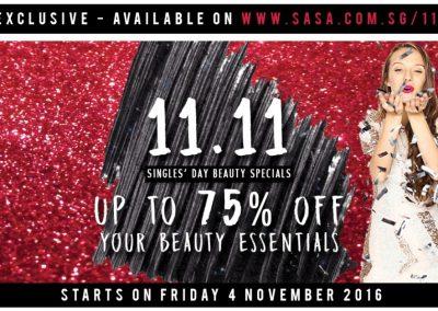 Singapore: SASA – 11.11 Beauty Specials Up to 75% Discount (4 Nov – 13 Nov 2016)