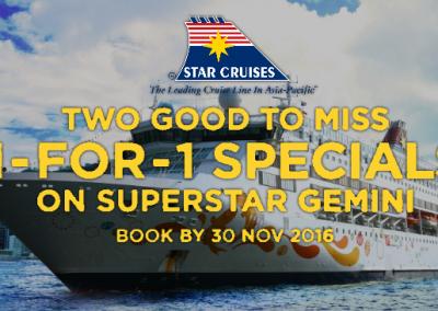 Singapore: Star Cruises – 1-For-1 Specials on Superstar Gemini (Till 30 Nov 2016)