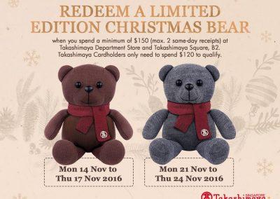 Singapore: Takashimaya – FREE Limited Edition Christmas Bear (Till 24 Nov 2016)