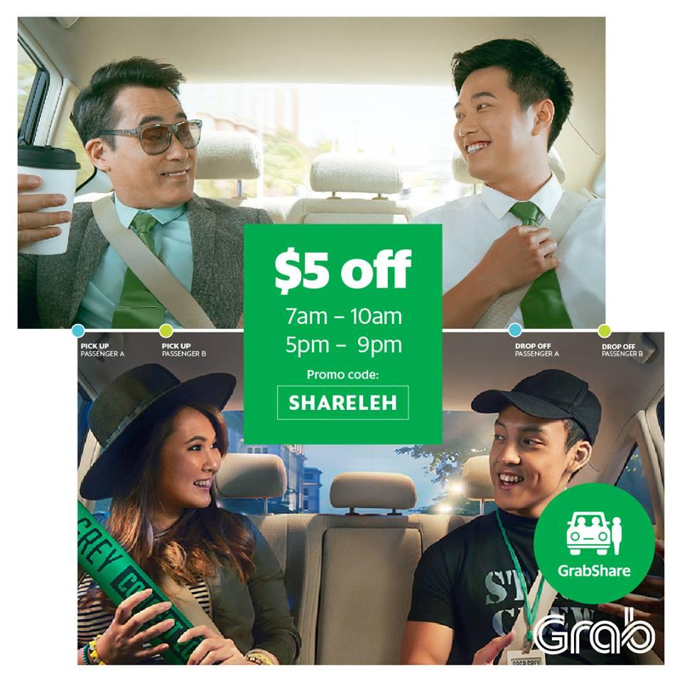 Singapore: GRAB – SHARELEH S$5 off ( 19 – 22 December; 7 am – 10 am; 5pm – 9 pm)