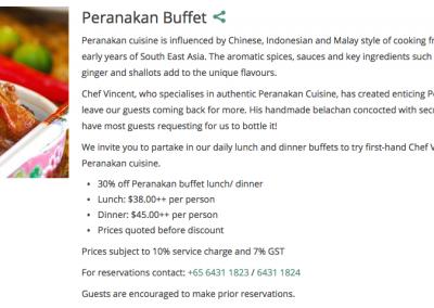 Singapore: Hotel Grand Pacific – 30% off Peranakan Buffet Food Bill (28 & 29 Jan 2017)