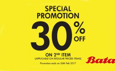 Singapore: Enjoy 30% Off at Bata Shoe 3-Day Promotion till 26-Feb-2017