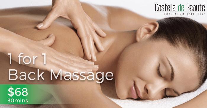 Singapore: Enjoy 1-for-1 Back Massage at Castelle de Beaute for Just $68! Valid till 31 Mar 2017