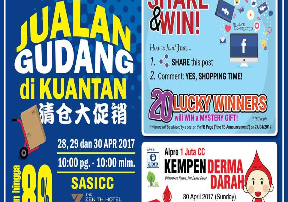 Malaysia: Alpro Farmasi, Warehouse Sale In Kuantan (28th.-30th. April 2017)