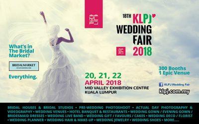 Malaysia: 18th KLPJ Wedding Fair 2018 – Mid Valley Exhibition Centre (20 – 22 April 2018)